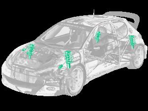 preparazione ammortizzatori auto rally asfalto terra competizione